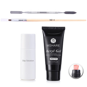 Kit PolyGel 60 ml Professional Nail Enhancement Rose Clair Français Blanc Ongles Poly Gel + Solution Glissante + Stylo Brosse + Palette
