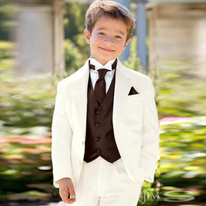 Custom Made White Wedding Suits Prom Flower Boy Dinner Suits Slim Fit Casual Tuxedos Notched Lapel Children Suit Kid Ring Formal Handsome
