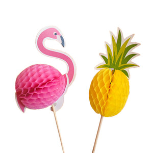 20 unids / set Flamingo Pinecake Cupcake FruitsToppers Selecciones Cumpleaños Hawaii Party Cake Decorating Supplies