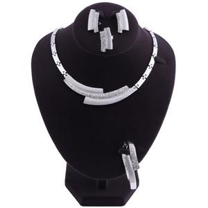 New Arrival Silver Jewelry Sets Nigerian Wedding African Beads Crystal Bridal Jewellery Set Rhinestone Ethiopian Jewelry parure