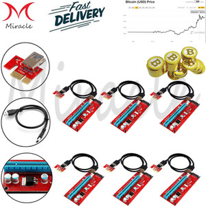 6-Pack PCI-E 1X إلى 16X Riser Cable Adapter، USB 3.0 60cm Cable، GPU card card extension extension، SATA Cable