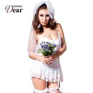 Comeondear CA88058 Nuisette Sexy Blanco Novia Vestido de Novia Lencería Erótica Talla Extra Encaje Disfraces Sexy Ropa Interior Tocado Y18102206