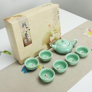 Çin Kung Fu Çay Seti 7 ADET Seladonlar Balık Çay Kahve Fincanı Çin Çay Seti Hediye ile Kurumsal Hediye Hediye Seramik Kutusu