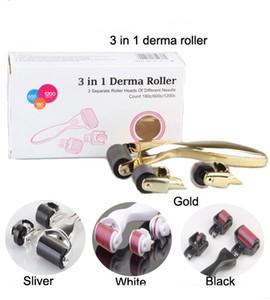 3 в 1 Derma Roller Kit с 3 отдельными Роликовые головки с иглой графа 180C / 600C / 1200C белый / черный / золото / серебро титана Dermaroller