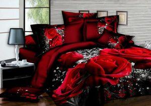 Conjunto de ropa de cama en rosa 3D Funda nórdica romántica Sábana Funda de almohada Ropa de cama 3 piezas Queen King Funda nórdica