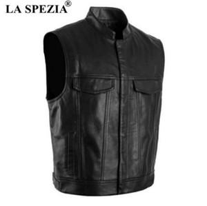 La SPEZIA мужчины жилет черный байкер мотоцикл хип-хоп жилет мужской искусственной кожи панк сплошной весна без рукавов куртка новое прибытие