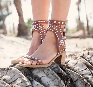 2018 Мода Styloe новый Гладиатор сандалии женщины Caroll Элвис лодыжки ремень толстые каблуки женщин сандалии открытым носком высокие каблуки