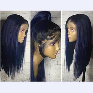 Pelucas delanteras del pelo 18inch con el bebé sin cola Ombre Azul pelucas recto sedoso pelucas sintéticas Hermosa calor Cordón caliente resistente para las mujeres negras