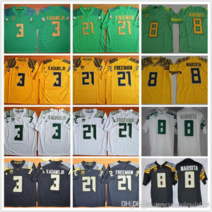 Marcus Mariota 8 Royce Freeman 21 Vernon Adams Jr 3 costurado Oregon Ducks College camisas de futebol