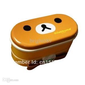 도매 - 1set 무료 배송 높은 내열성 귀여운 더블 레이어 플라스틱 도시락 상자 + 젓가락 gvea8