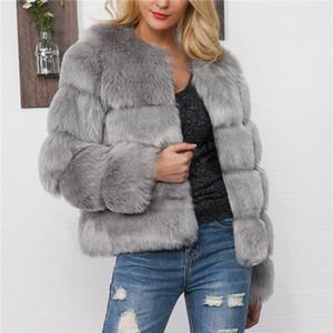 LANSHIFEI 2018 La nueva capa de la piel de imitación de diseño cálido invierno gruesa chaqueta mullida Mujer Abrigo Mujer imitación piel Parka Abrigos