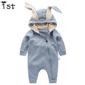 1st Yenidoğan Bebek Kız Erkek Giyim Romper Pamuk Uzun Kollu Tulum Tulum Bunny Kıyafetler Tek parçalı 3D Kulak Elbise k1 Y18102008