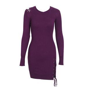 Simplee Lace Up Skinny Strickpullover Kleid Damen Elegant Split Pull Knit Winterkleid 2018 Herbst Pullover Vintage Pullover