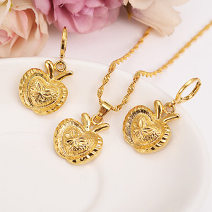 gold Necklace Earring Set Women Party Gift APPLE Jewelry Sets daily wear mother gift DIY charms women girls Fine Jewelry