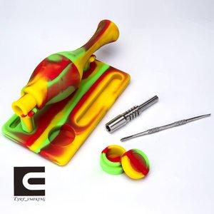 Silikon Nector Toplayıcı Kiti silikon titanyum nai ile sigara boru + silikon taban ve konteyner + paslanmaz çelik dabber NC Kitleri
