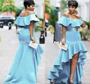 2018 Light Sky Azul Alta Baixa Vestidos de Baile Fora Do Ombro Backless Hi-Lo Formal Plus Size Vestidos de Festa À Noite Celebrity Wear Red Carpet Dress