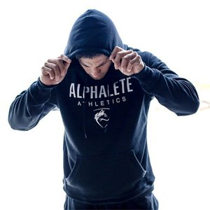 Männer Fitnesstraining Hoodies Langärmlig Sport Sweatshirts Brief gedruckt Pullover Men Shirt Dickes Plus Velvet für Männer Freies Verschiffen