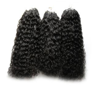 Extensions de cheveux micro boucle 300g Cheveux bouclés crépus mongoliens 300S Pro-collé Micro-boucle micro anneaux Liens Extension de cheveux humains