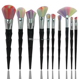 10 pçs / set Rainbow Pincéis de Maquiagem Black Diamond Contorno Facial Escova Sombra Fundação Sombra Em Pó Make up Escova Cosmética Escovas Kit