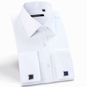 Mens  French Cuff Solid Dress Shirts Spread Collar Long Sleeve Regular Fit Formal Business Twill Shirt with Cufflinks