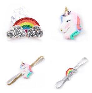 Lo nuevo Unicorn Kids Diadema Clips Bebé niñas Cartoon Rainbow Hairband Horquillas Barrettes Set Para Niños Unicorn Horn Party accesorios para el cabello