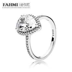 FAHMI 100% стерлингового серебра Glamour 196251CZ сияющий большой слеза кольцо оригинальный женщины свадебные ювелирные изделия 2018