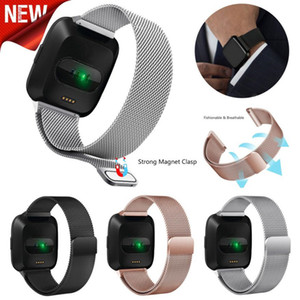Substituição Wrist Band Milanese loop Strap Para Fitbit Versa / Versa 2 Stainless Steel Watch Band Magnetic Bracelet Bloqueio