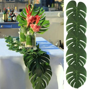 Eco-friendly 20x18cm 24pcs 35x29cm Tropical folhas de palmeira Simulação Folha Para Luau havaiano Fontes Jungle Beach Tema Início