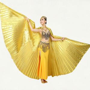 Nuevo Estilo Profesional White Belly Dancing Disfraz Wing Danza del Vientre Tela transparente isis alas Color dorado Sin palos