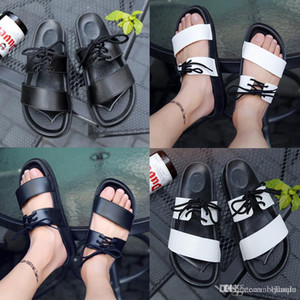 Men's Famous Designer Summer men women Slide Black Slippers Sandals ladies white black slipperssandals shoes lace-up flip flops