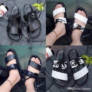 Erkek Ünlü Tasarımcı Yaz erkek kadın Slayt Siyah Terlik Sandalet bayanlar beyaz siyah slipperssandals ayakkabı dantel-up flip flop