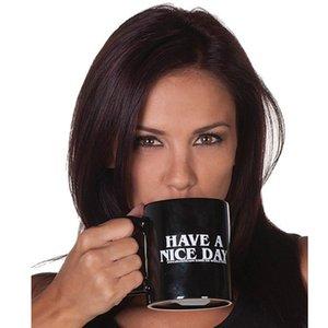Cups dedo caneca 350ml Média engraçado New Design Tenha um bom dia e canecas para presentes do chá de leite novidade aniversário