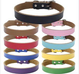 9 colores 5 Tamaños alto grado caliente puro collar de cuero de vaca para mascotas perro de cuero real engrosamiento de tracción cadena de la cuerda Accesorios para perros BBA313