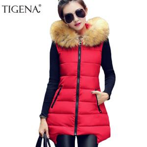 Gros-TIGENA Plus Taille 4XL D'hiver Gilet Femmes 2017 Sans Manches Veste Manteau Femmes Gilet Gilet Chaud À Capuchon Longue Gilet Femme