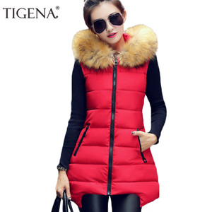 Al por mayor-TIGENA Plus Size 4XL Chaleco de invierno Mujer 2017 Chaqueta sin mangas Chaleco Chaleco de las mujeres Chaleco cálido con capucha Chaleco largo femenino
