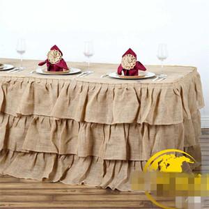 Pastorale Vento Lino Tovaglia Albergo Meeting Matrimonio Banchetto Tavolo Gonne Forniture Hotel di Colore Puro Durevole Alta Qualità 38kq ff
