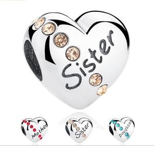 925 Sterling Silver Heart Diamond mère / fille / soeur Imprimé Perles en vrac Charms pour DIY Bracelets Pendentifs Bijoux Accessoire Comme Cadeaux