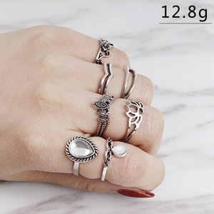 Vintage crown Knuckle Rings for Women Boho Geometric Flower Crystal water shape Ring Set Bohemian Midi Finger Jewelry Bague