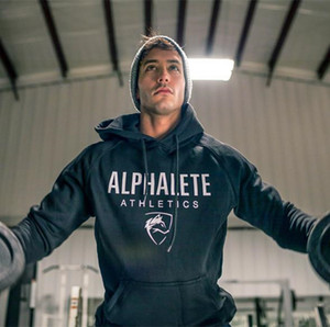 2018 New Hot Hommes Hoodies Sweat-shirts De Haute Qualité ALPHALETE Impression Sweat À Capuche Fitness Bodybuilding Marque Vêtements Coton 3 Couleur