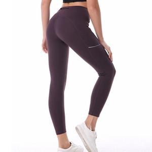 Binand Damen Elastic Side Reflective Strip Fitness Sporthosen Pocket Nylon Komfortable Gym Running Butt Lifting Yogahosen