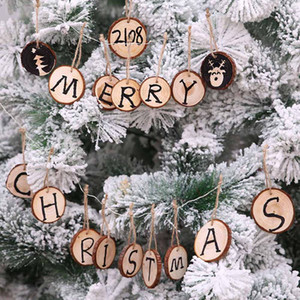 10pcs Ciondoli di decorazione di Natale Tavola rotonda di legno Albero di natale Goccia Ornamenti Fai da te Buon Natale Decorazione per la casa Forniture