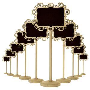 Creativo in legno Hollow ovale a forma di cuore Mini lavagna lavagna in legno su supporto Stick Stand Numero tavolo Decorazione parti di nozze