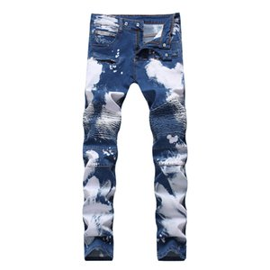 Men High Street Biker Jeans Trousers Slim Fit Spliced Stretch Pleated Motorcycle Denim Pants Washed Plus Size 42 wholesale free shipping