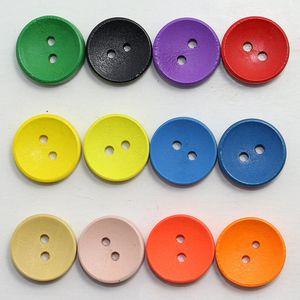 Meetee enfants en bois yeux bol bouton bouton decoraion 15mm mixte coloré tache ronde boutons en bois accessoire de vêtement vêtement materail