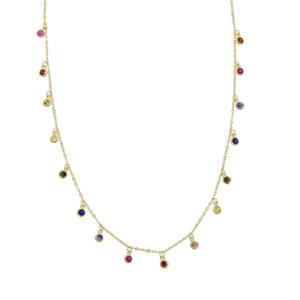 925 argent sterling rainbow cz drop choker necklace pour les femmes 2018 plaqué or vermeil petits points ronds déclaration colliers