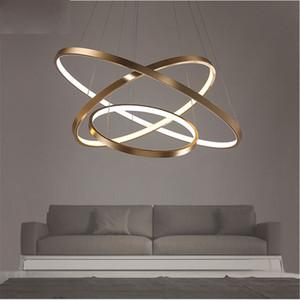 Fashional Dinning Room Moderne Lustres Cercle Anneaux Led Lumière De Lustre Pour L'éclairage Intérieur AC 85-260V 40CM 60CM 80CM 100CM