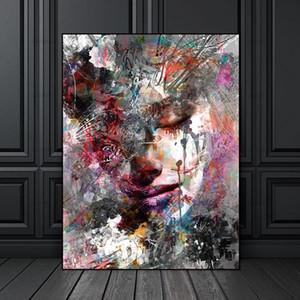 Leinwand-Malerei druckt Wall Art Bilder bunte Frau auf Leinwand ohne Rahmen Hauptdekor Wandplakat Dekoration für Wohnzimmer