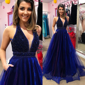Royal Blue A Line Prom Dresses Halter V Neck Beading Floor Length Party Gown Backless Organza Vestidos de fiesta