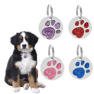 Rodada Forma Da Pata Do Cão de Estimação ID Tag Do Cartão de Liga de Impressão Da Pata Do Cão Rodada Glitter ID Tags Para Cão de Estimação