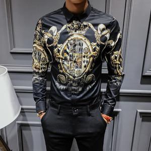 2020 Primavera e Tops Femininos Outono longos da luva do coreano Moda de Slim Black Gold homens moda impressão da camisa